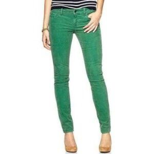 Free People Green Coated Corduroy Jeans W 30